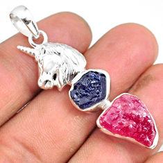 13.41cts natural pink ruby raw sapphire rough 925 silver horse pendant r80776