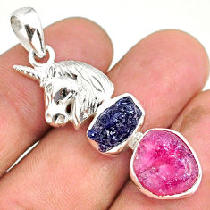 11.62cts natural pink ruby raw sapphire rough 925 silver horse pendant r80778