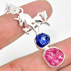12.34cts natural pink ruby raw sapphire rough 925 silver horse pendant r80838
