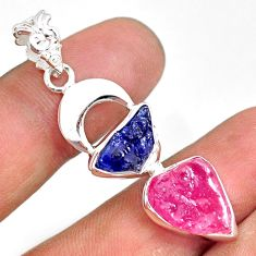 11.89cts natural pink ruby raw sapphire rough 925 silver pendant r80816