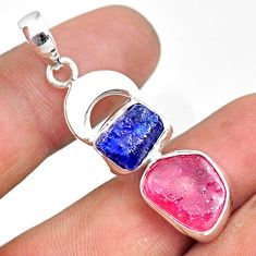 11.46cts natural pink ruby raw sapphire rough 925 silver pendant r80818