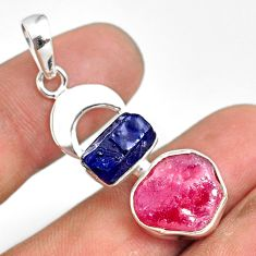12.22cts natural pink ruby raw sapphire rough 925 silver pendant r80820