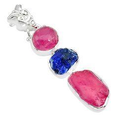 15.02cts natural pink ruby raw sapphire rough 925 silver pendant r83065