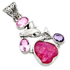 14.72cts natural pink ruby rough smoky topaz 925 silver dolphin pendant d45967