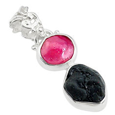 8.84cts natural pink ruby raw tourmaline rough 925 silver pendant t20916