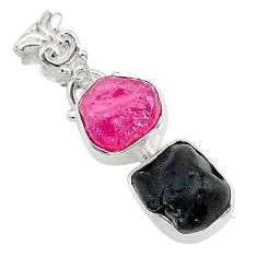 9.86cts natural pink ruby raw tourmaline rough 925 silver pendant t20919