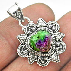 5.34cts natural pink ruby zoisite 925 sterling silver heart pendant t56052