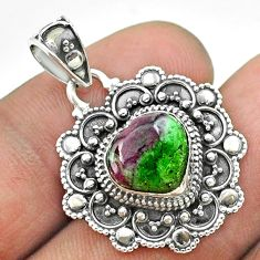 5.31cts natural pink ruby zoisite 925 sterling silver heart pendant t56106