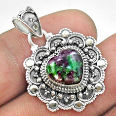 5.53cts natural pink ruby zoisite 925 sterling silver heart pendant t56113