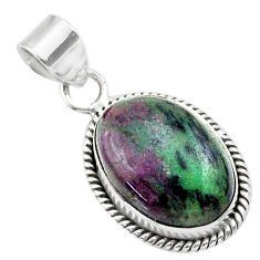 13.77cts natural pink ruby zoisite 925 sterling silver pendant jewelry t44761