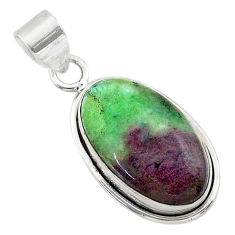 16.03cts natural pink ruby zoisite 925 sterling silver pendant jewelry t44764