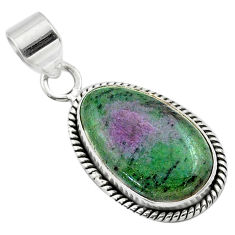 14.57cts natural pink ruby zoisite 925 sterling silver pendant jewelry t44766