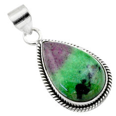 17.57cts natural pink ruby zoisite 925 sterling silver pendant jewelry t44768