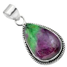 18.15cts natural pink ruby zoisite 925 sterling silver pendant jewelry t44771