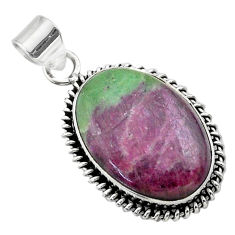 17.18cts natural pink ruby zoisite 925 sterling silver pendant jewelry t44772