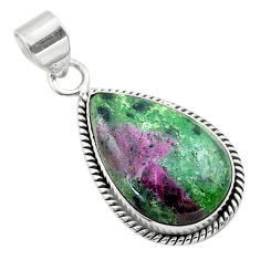 17.57cts natural pink ruby zoisite 925 sterling silver pendant jewelry t44774