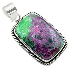 25.00cts natural pink ruby zoisite 925 sterling silver pendant jewelry t44777