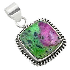 14.90cts natural pink ruby zoisite 925 sterling silver pendant jewelry t44778