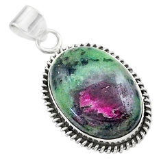 22.05cts natural pink ruby zoisite 925 sterling silver pendant jewelry t44781