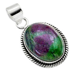 17.86cts natural pink ruby zoisite 925 sterling silver pendant jewelry t44784