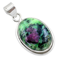 17.65cts natural pink ruby zoisite 925 sterling silver pendant jewelry t44803