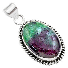 19.23cts natural pink ruby zoisite 925 sterling silver pendant jewelry t44807