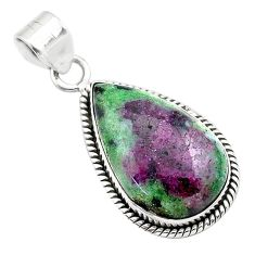 17.57cts natural pink ruby zoisite 925 sterling silver pendant jewelry t44811