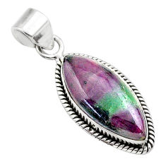 14.57cts natural pink ruby zoisite 925 sterling silver pendant jewelry t44812