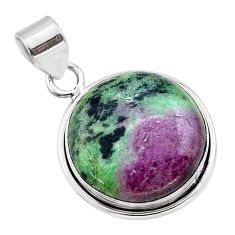 18.70cts natural pink ruby zoisite 925 sterling silver pendant jewelry t44814
