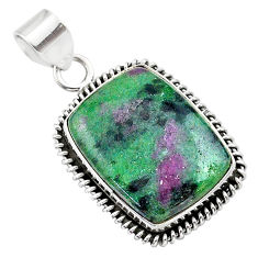 21.42cts natural pink ruby zoisite 925 sterling silver pendant jewelry t44817