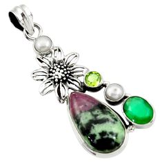 Clearance Sale- 20.27cts natural pink ruby zoisite chalcedony 925 silver flower pendant d43190