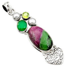 Clearance Sale- 21.30cts natural pink ruby zoisite chalcedony pearl 925 silver pendant d43194
