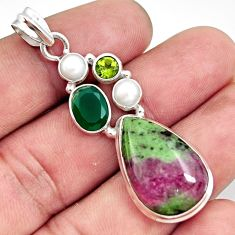 21.67cts natural pink ruby zoisite chalcedony pearl 925 silver pendant d43963