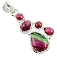 10.99cts natural pink ruby zoisite garnet 925 sterling silver pendant d43149