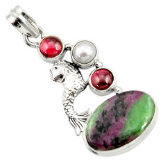 16.93cts natural pink ruby zoisite garnet pearl 925 silver fish pendant d43197