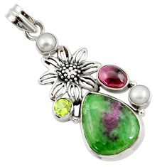20.86cts natural pink ruby zoisite garnet pearl 925 silver flower pendant d43192