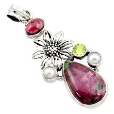 Clearance Sale- 19.43cts natural pink ruby zoisite garnet pearl 925 silver flower pendant d43198