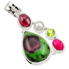 19.72cts natural pink ruby zoisite garnet pearl 925 silver pendant d43143