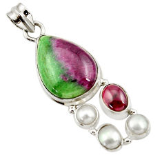 Clearance Sale- 18.17cts natural pink ruby zoisite garnet pearl 925 silver pendant d43145