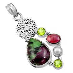 17.36cts natural pink ruby zoisite garnet pearl 925 silver pendant d43863