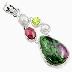 Clearance Sale- 18.17cts natural pink ruby zoisite garnet pearl peridot silver pendant d43152