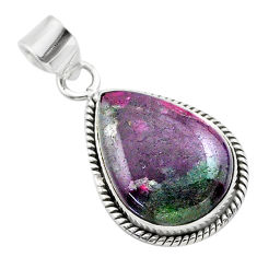 17.60cts natural pink ruby zoisite pear shape sterling silver pendant t44775