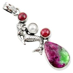 Clearance Sale- 17.81cts natural pink ruby zoisite pearl 925 silver fairy mermaid pendant d42313