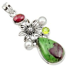 20.56cts natural pink ruby zoisite red garnet 925 silver flower pendant d43200