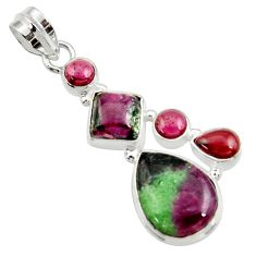 14.12cts natural pink ruby zoisite red garnet 925 sterling silver pendant d43141