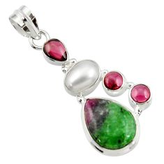 12.83cts natural pink ruby zoisite red garnet 925 sterling silver pendant d43142