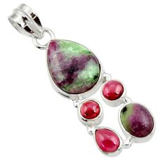 Clearance Sale- 14.26cts natural pink ruby zoisite red garnet 925 sterling silver pendant d43146