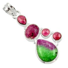 Clearance Sale- 11.02cts natural pink ruby zoisite red garnet 925 sterling silver pendant d43154