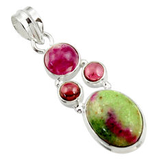 Clearance Sale- 10.23cts natural pink ruby zoisite red garnet 925 sterling silver pendant d43157