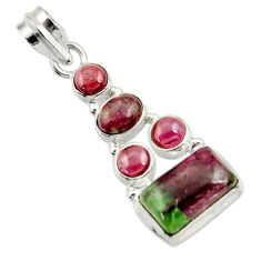 Clearance Sale- 10.02cts natural pink ruby zoisite red garnet 925 sterling silver pendant d43159